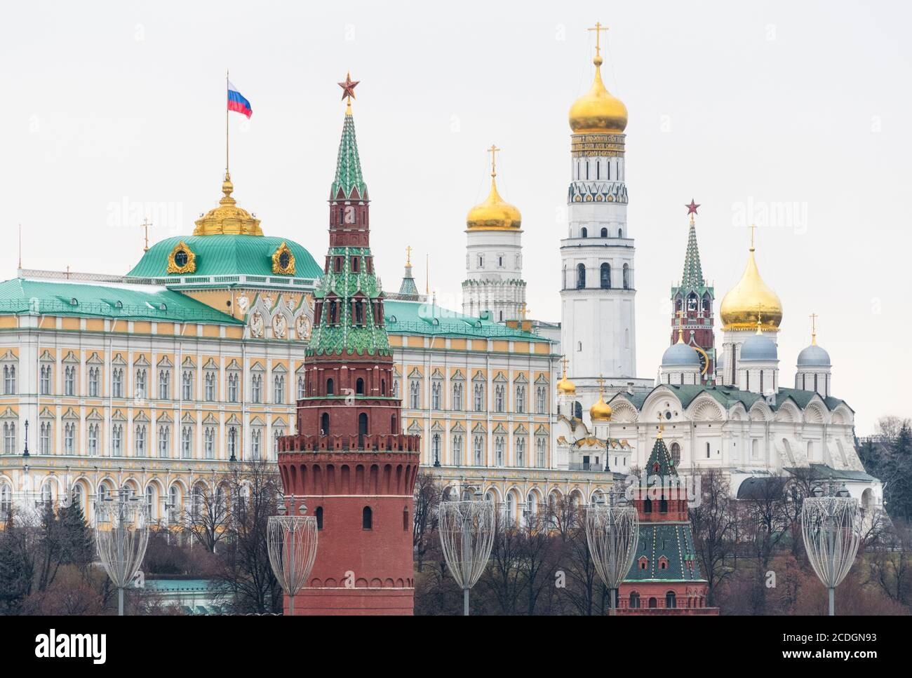 Moscow Kremlin as seen from Bolshoy Kamenny Most, Moscow, Russia Stock Photo