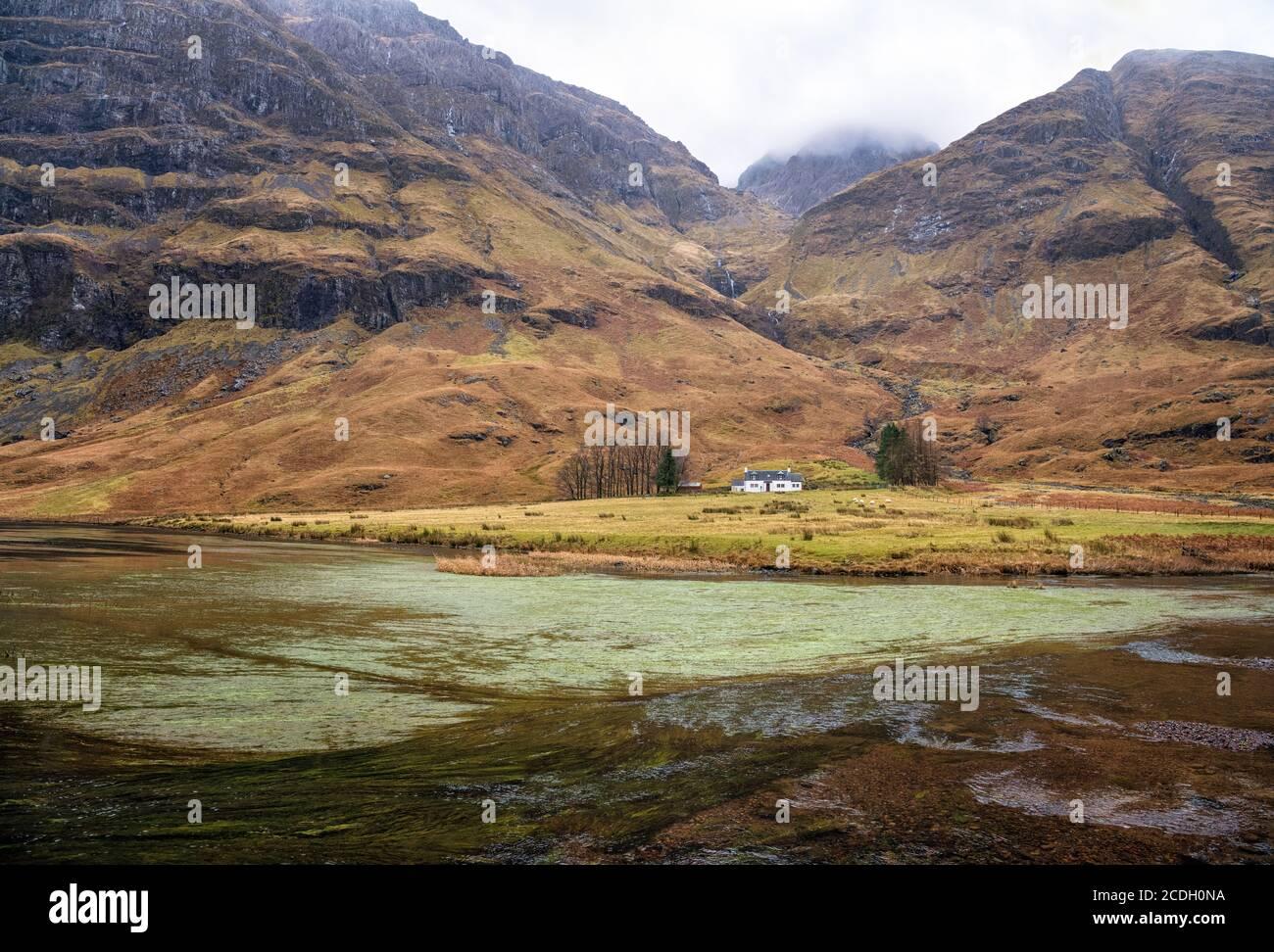 Achnambeithach cottage in Glen Coe, Highlands, Scotland, Stock Photo