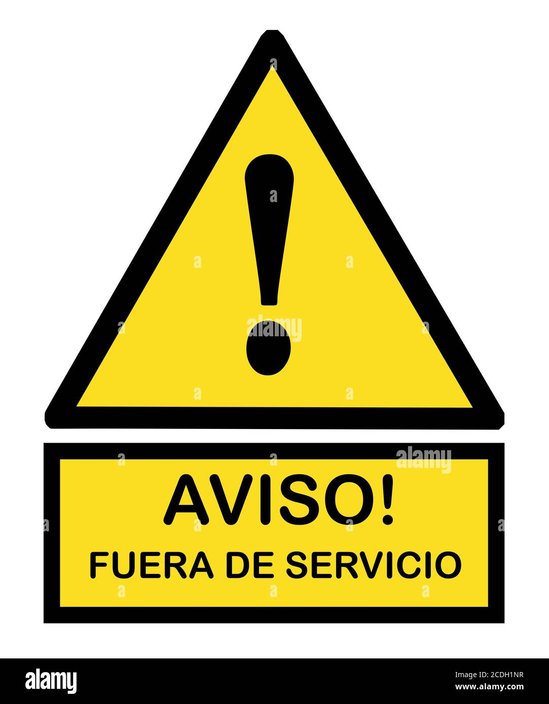 Aviso fuera de servicio señal : notice out of service sign with yellow triangle and exclamation point mark Stock Photo