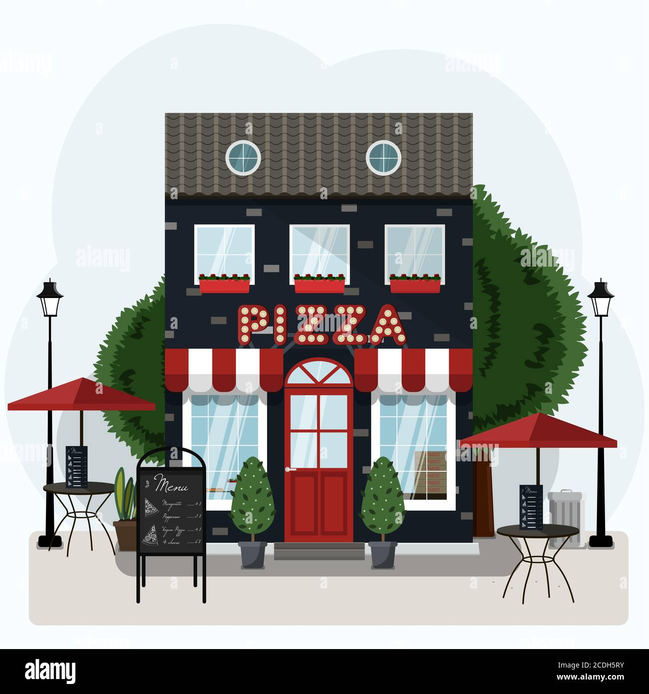 Facade Of A Pizza Restaurant With Outdoor Tables And Home Delivery Vector Illustration Of A Pizzeria With A Red And White Canopy Billboard And Potted Plants Nice Building Of An Italian Restaurant