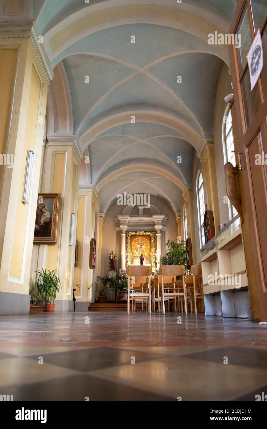 Chapel and Jesus statue at St. Peter's Church in Daugavpils, Latvia. The Roman Catholic place of worship is in the centre of Latvia's second city. Stock Photo