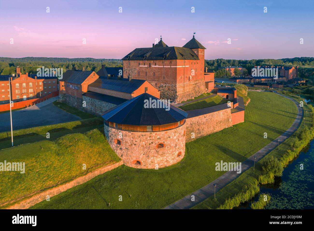 The ancient fortress of the city of Hameenlinna close-up on a sunny July morning (shot from a quadcopter). Finland Stock Photo