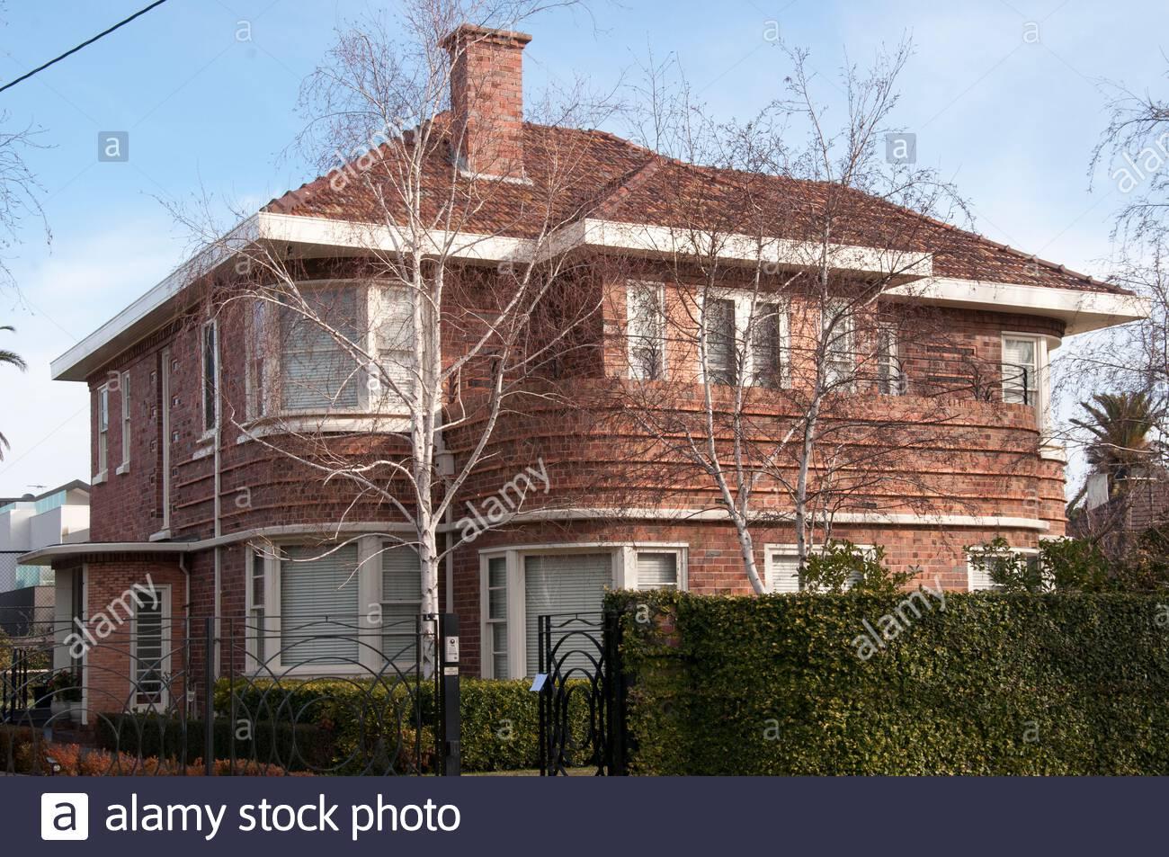 Ocean Liner or Streamline Moderne 1930s family home in the prestigious bayside suburb of Brighton, Melbourne, Australia Stock Photo
