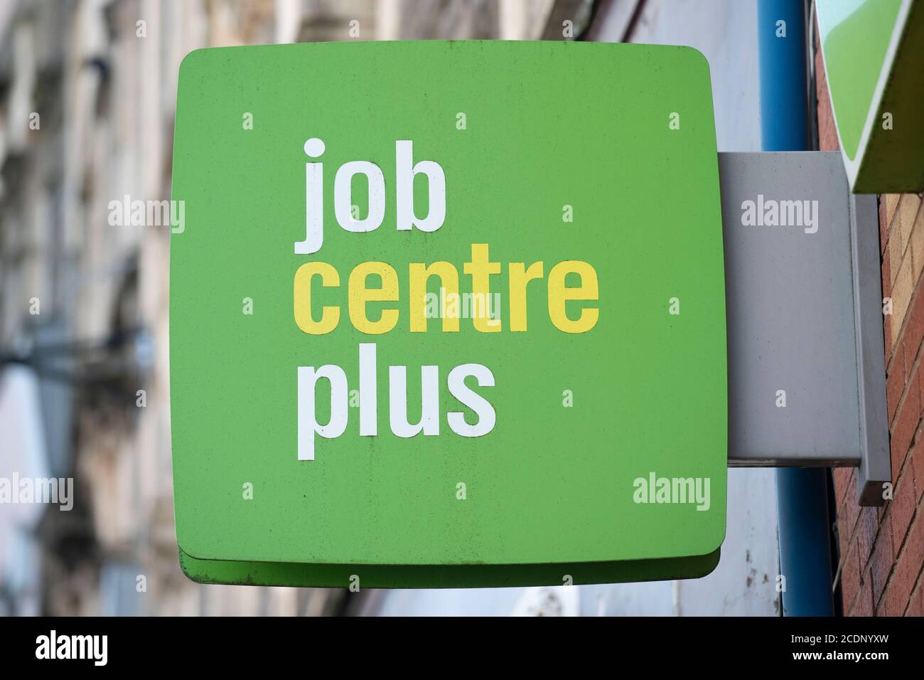 A close-up of a Job Centre Plus sign in Bargoed, Wales, United Kingdom. Stock Photo