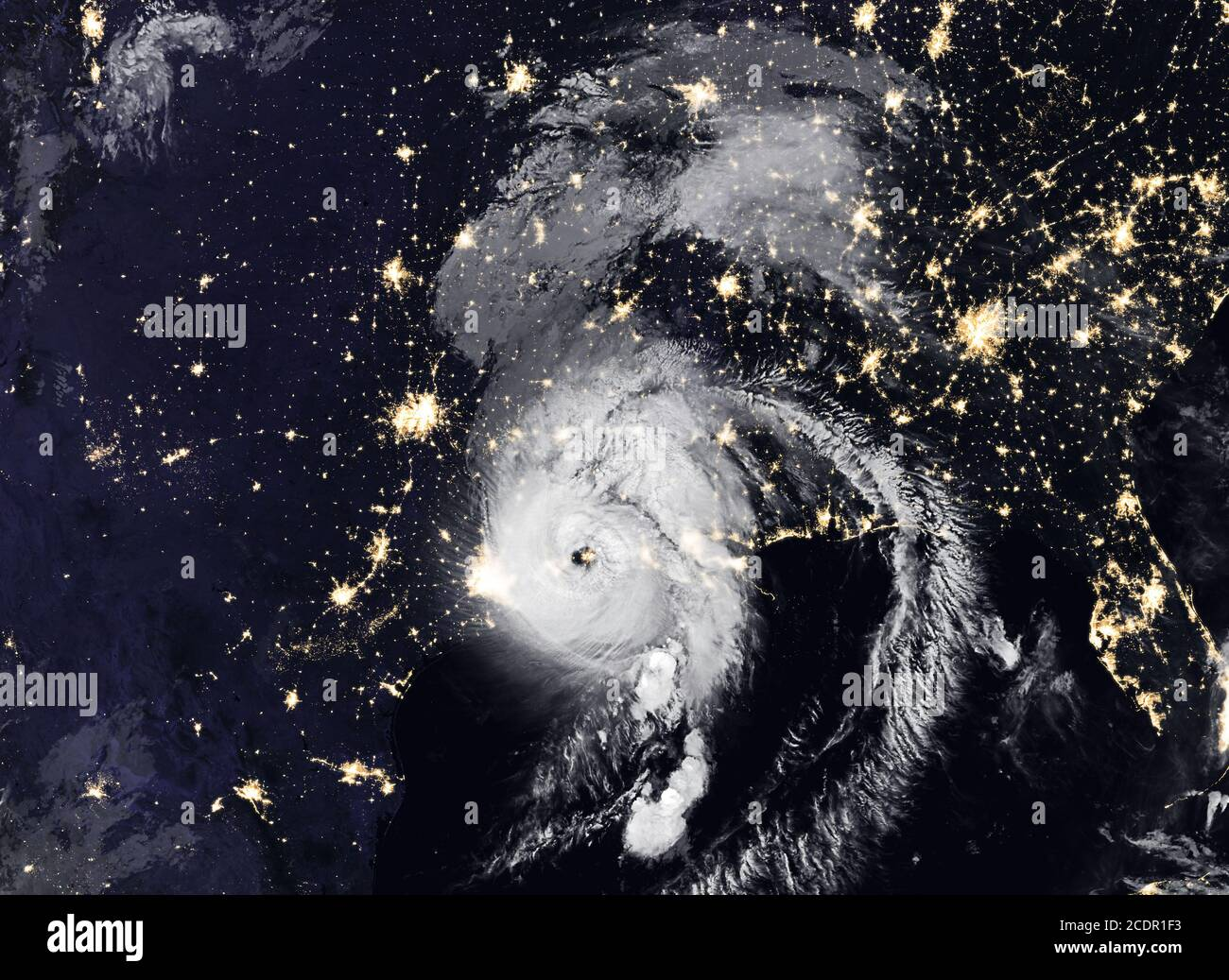 USA - 27 August 2020 - After making landfall near Cameron, Louisiana, as a category 4 storm, Hurricane Laura continued to move northward over western Stock Photo