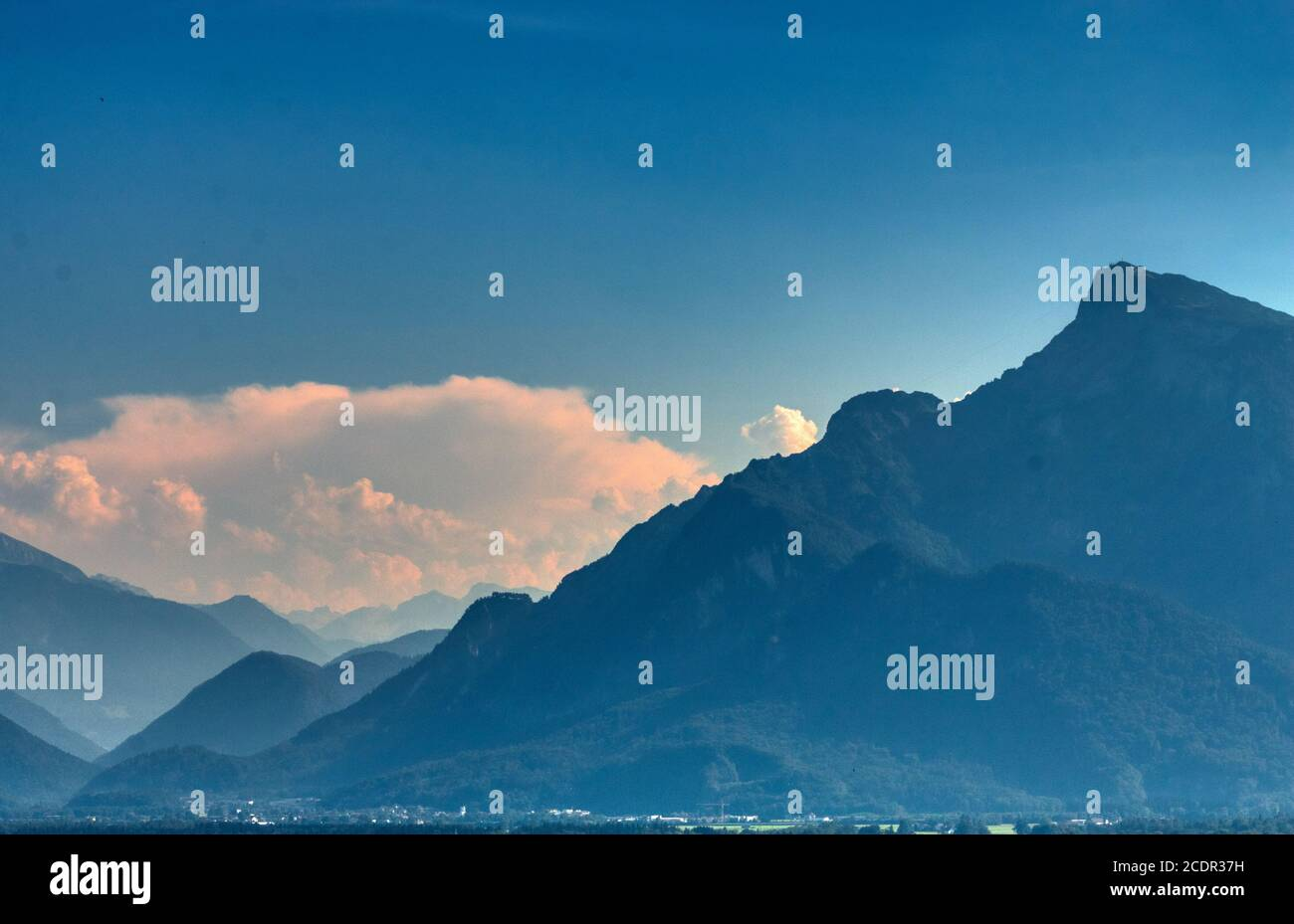 Salzburg aerial view of the mountains on summer time Stock Photo