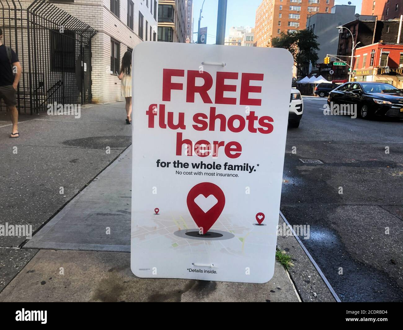 New York, United States. 24th Aug, 2020. Flu shot are offered at CVS pharmacy on 3rd Avenue in New York on August 24, 2020. According to the Centers for Disease Control and Prevention (CDC), there are many different flu viruses and they are constantly changing. The composition of U.S. flu vaccines is reviewed annually and updated as needed to match circulating flu viruses. Flu vaccines protect against the three or four viruses (depending on the vaccine) that research suggests will be most common. (Photo by Samuel Rigelhaupt/Sipa USA) Credit: Sipa USA/Alamy Live News Stock Photo