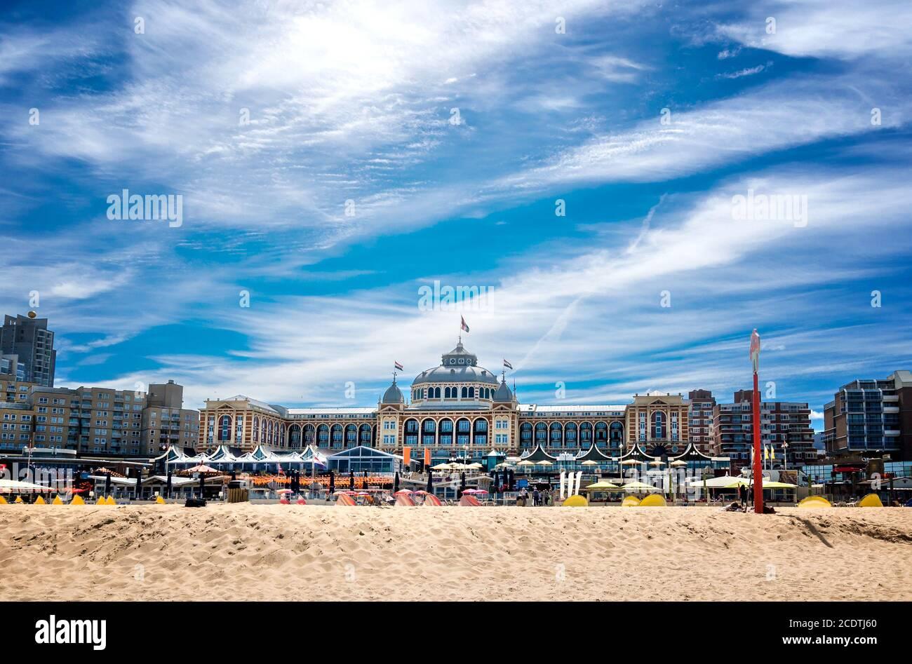 The hotel Kurhaus with beach in Scheveningen Stock Photo