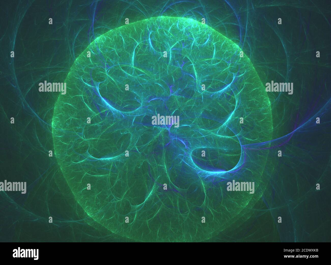 glowing green curved lines in shape of sphere over dark Abstract Background space universe. Illustration Stock Photo