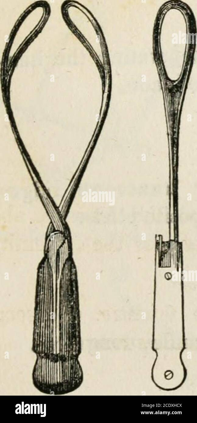 . Lectures on natural and difficult parturition . Fig, 15. Fig. 16.—V/. Beattys Forceps.. Stock Photo