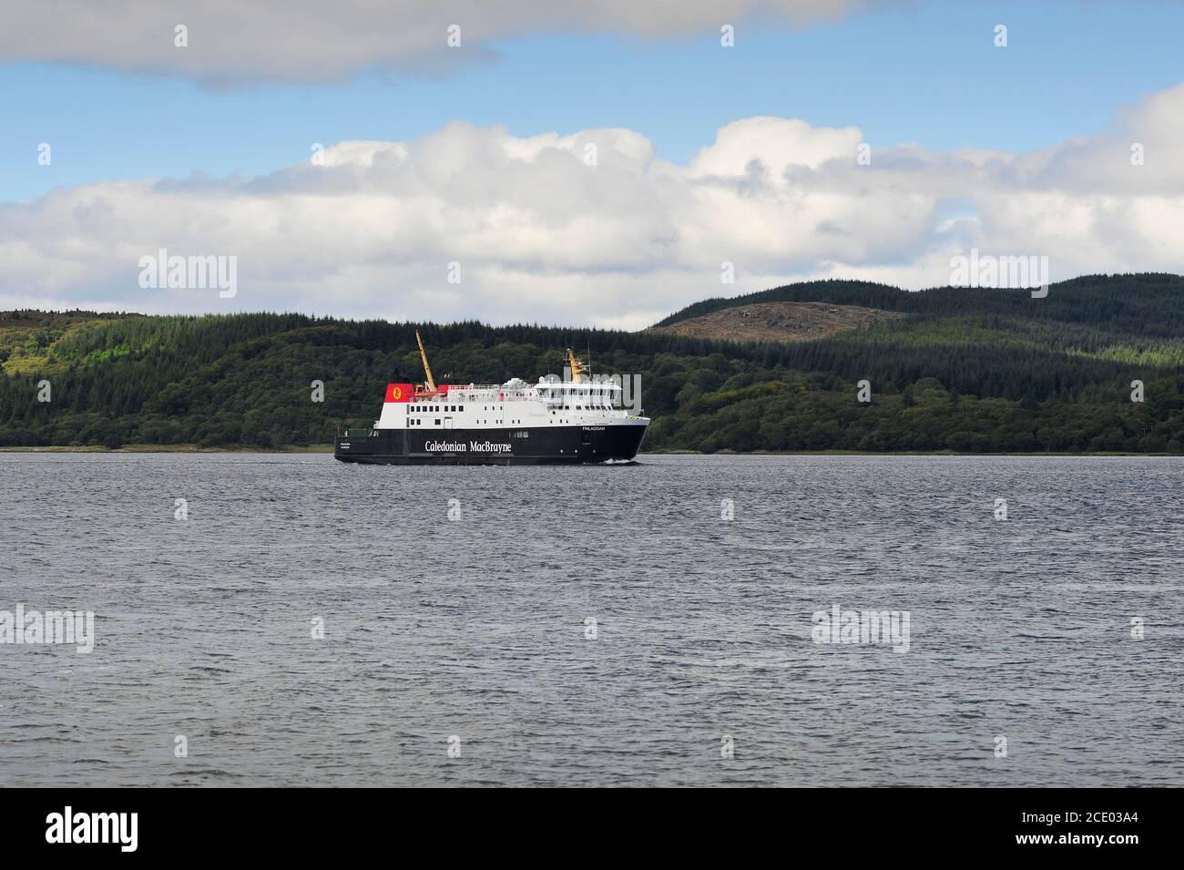 Islay Ferry Finlaggan arriving at Kennacraig Terminal Scotland UK Stock Photo