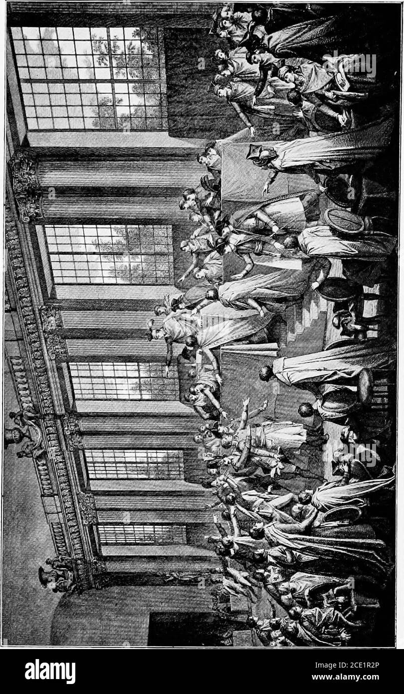 . The life of Napoleon I, including new materials from the British official records . protests, weeps, finally throws off his official robes, and isrescued from the enraged deputies by grenadiers whomthe conspirators send in for this purpose. MeanwhileBonaparte and his friends were hastily deliberating, whenone of their number brought the news that the deputieshad declared the general an outlaw. The news chasedthe blood from his cheek, until Sieyes, whose sang froiddid not desert him in these civilian broils, exclaims, Sincethey outlaw you, they are outlaws. This revolutionarylogic recalls Bon Stock Photo