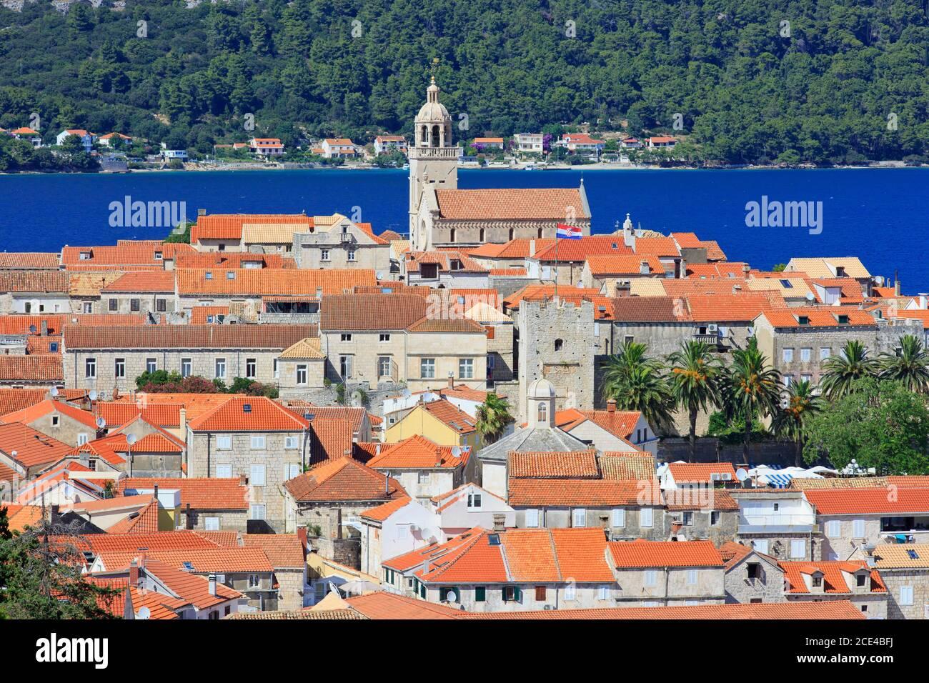 Panoramic view across the picturesque town of Korcula (Dubrovnik-Neretva County), Croatia Stock Photo