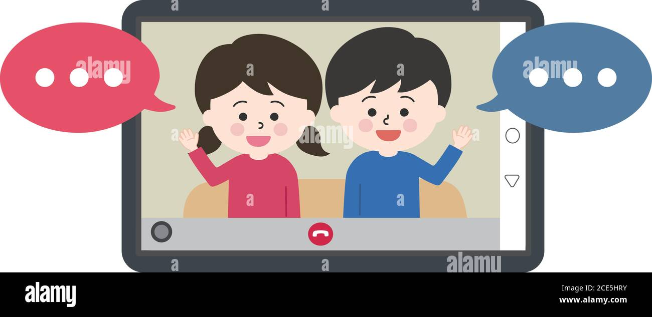 Children with speech bubbles sitting on the sofa and having video call on tablet or laptop. Vector illustration isolated on white background. Stock Vector