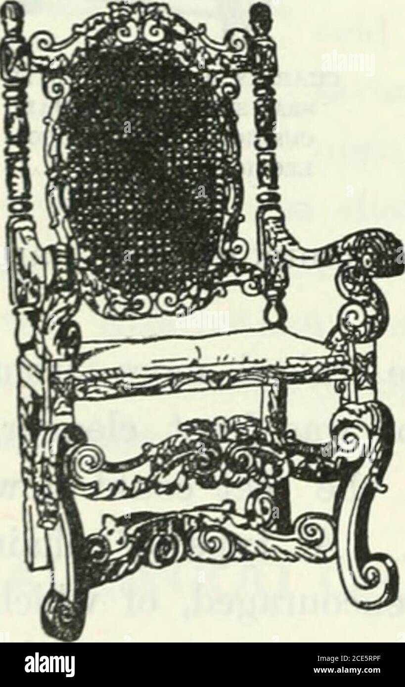 . The book of decorative furniture, its form, colour and history . CROMWELLIAX CHAIR, JACOBEAN WHEEL CHAIR INCARVED OAK. CIRCA 1640. back and the seats. In the slightly higher chairs this space waslessened, the plain panels nearly reaching to the seat, which was sunk panelled that the cushion might bed therein. Of that economical outcome of Cromwellian design, the chair con-vertible into a table by lowering the hinged back to rest upon the arms, the chair referred to in our chapter on Some Seats of the Mighty, as formerly belonging to Theodore Hook, is an interesting example. Though throughout Stock Photo