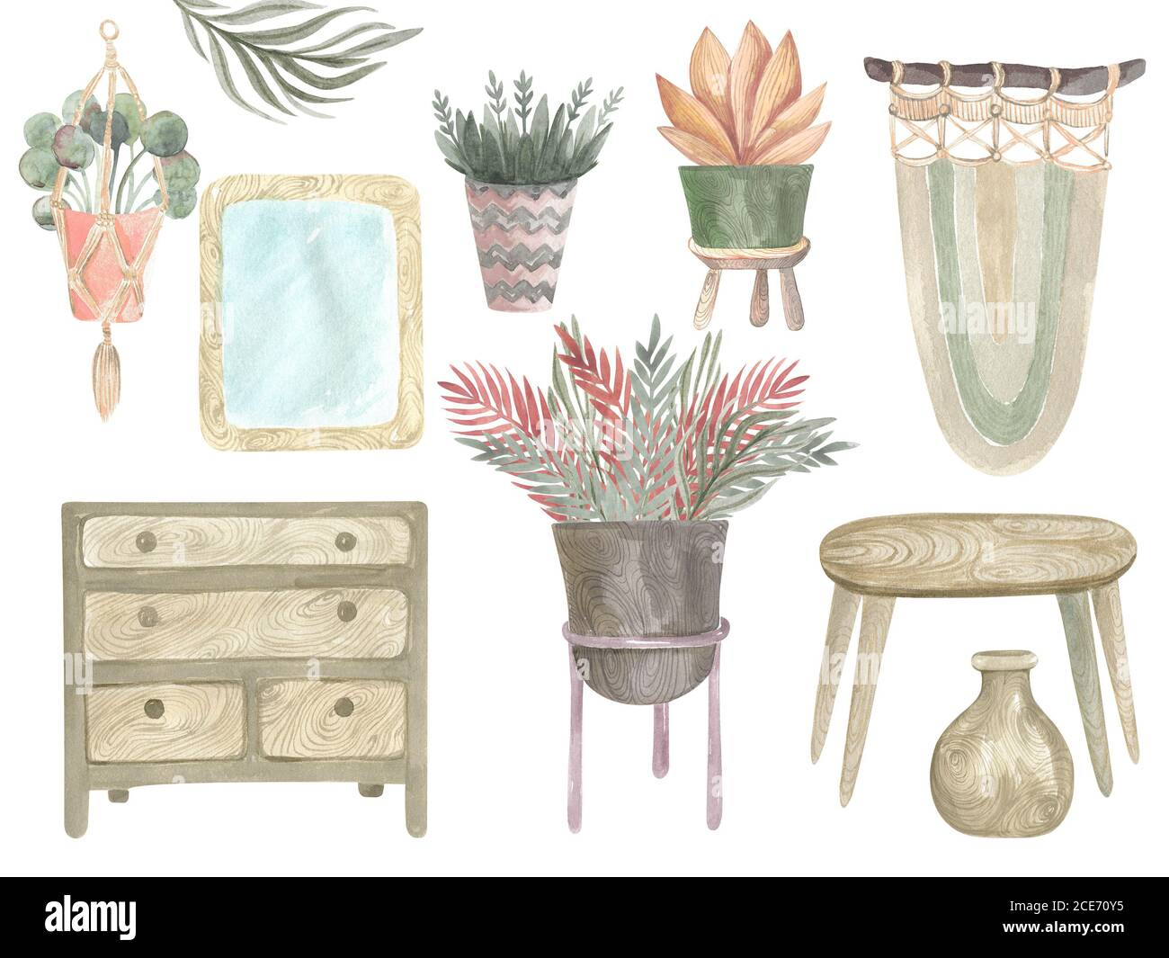 Watercolor Illustration Of Interior Elements In Boho Style Home Decoration Items Set Hand Painted Table Dresser Home Plants Pot Mirror Basket Vase Ma Stock Photo Alamy