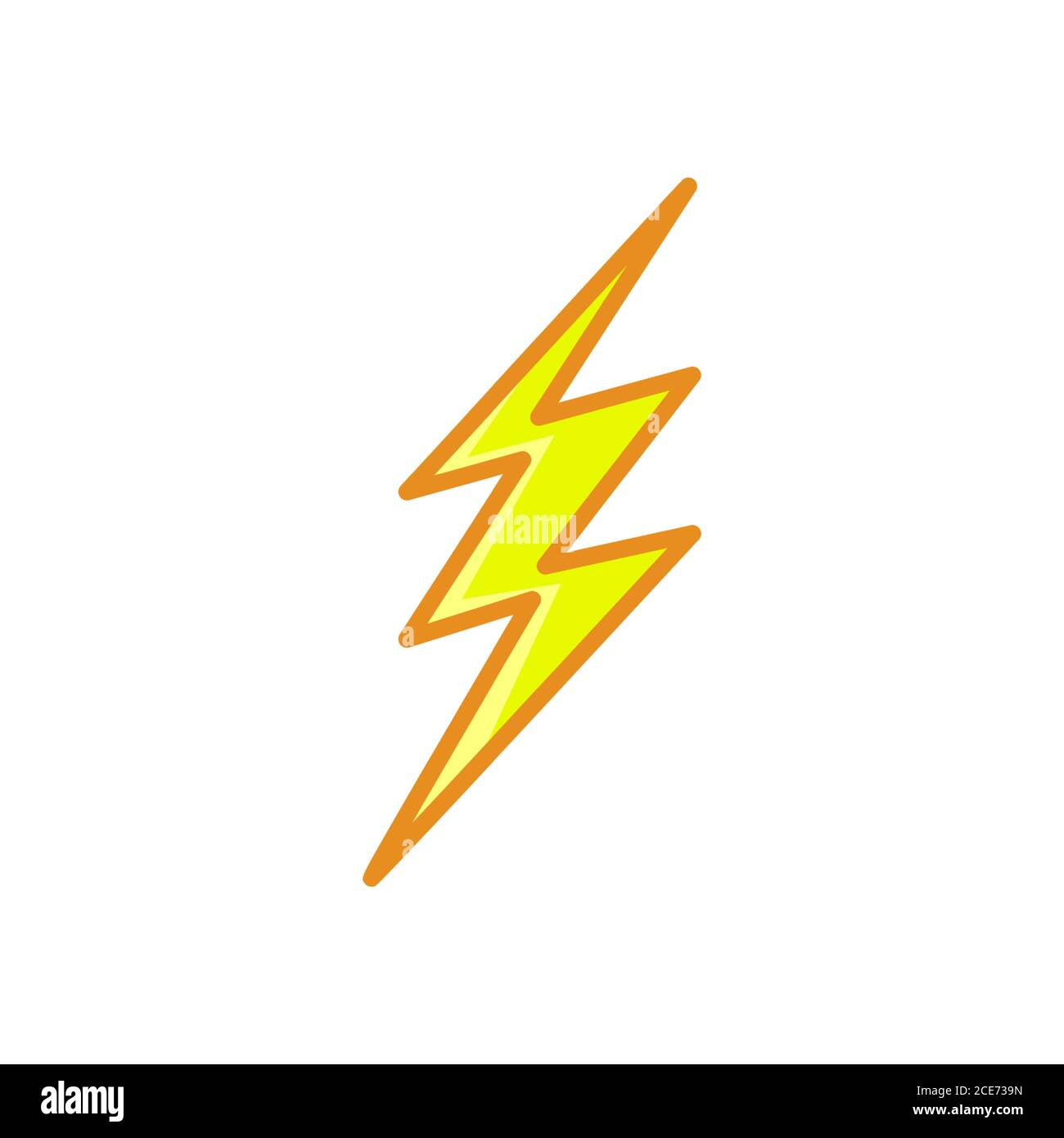 Lightning Bolt Thunderbolt Line Style Yellow Color Flat Icon Stock Vector Image Art Alamy