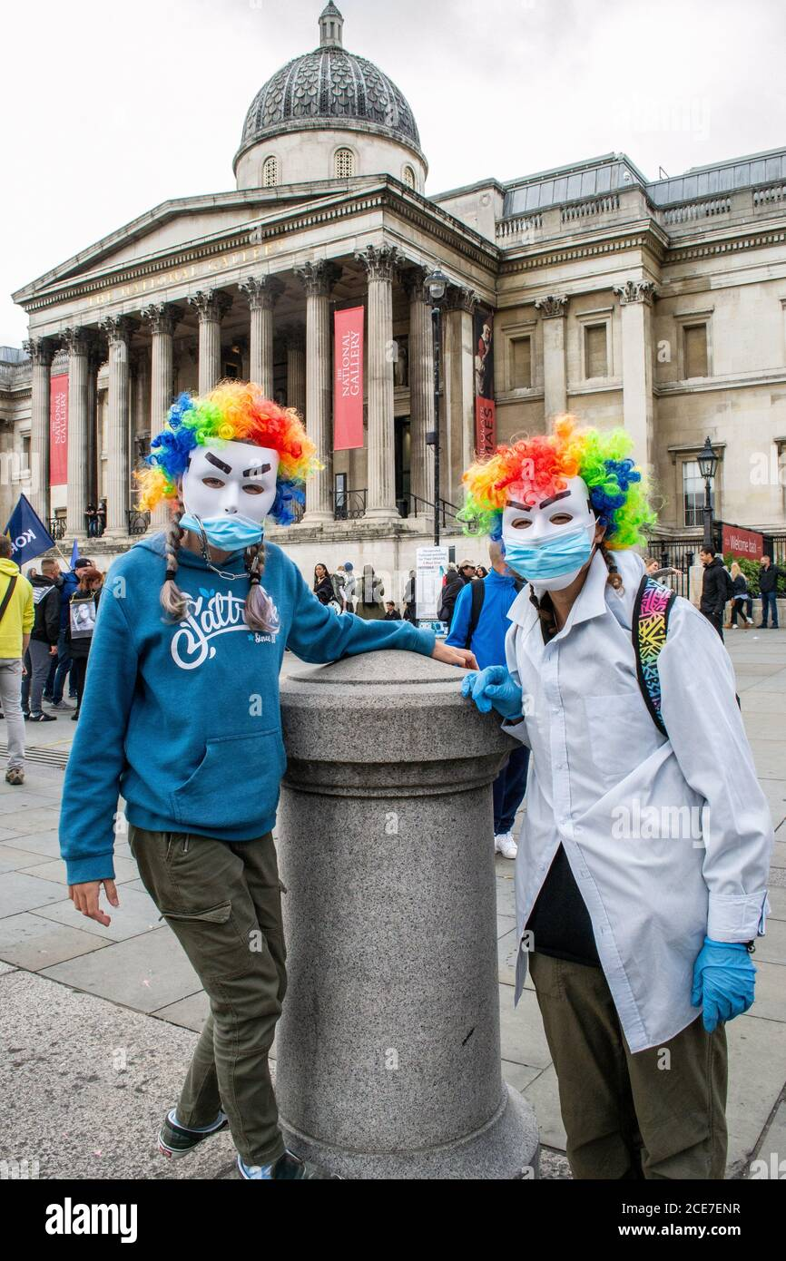 WESTMINSTER, LONDON/ENGLAND- 29 August 2020: Protesters at an anti-lockdown Unite for Freedom Rally, against coronavirus restrictions Stock Photo