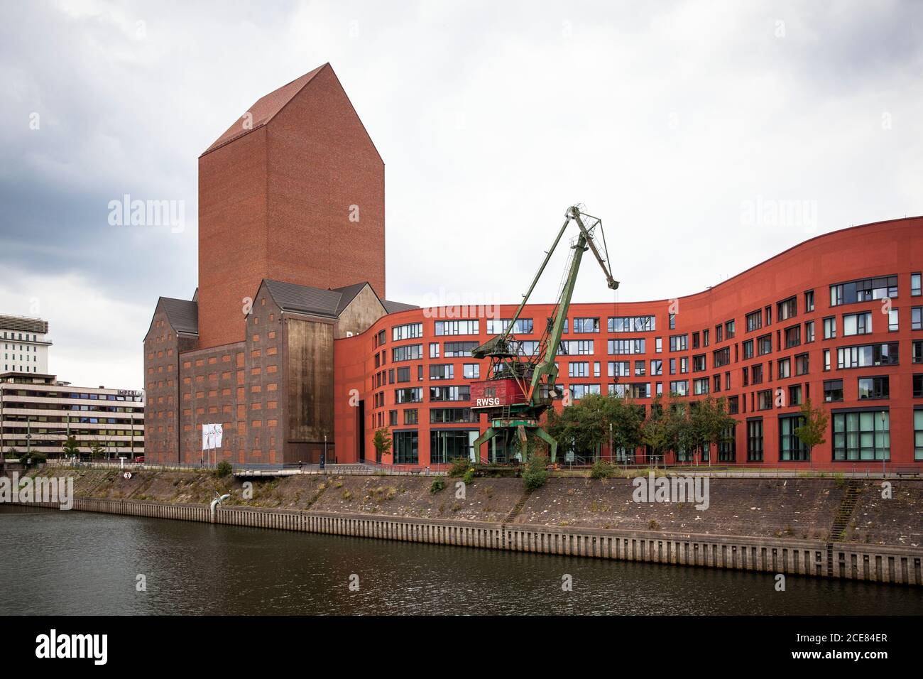 the Landesarchiv NRW in the inner Rhine harbour, historical storage building of the Rheinisch-Westfaelische Speditions-Gesellschaft and extension buil Stock Photo