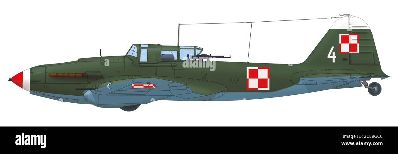 Ilyushin Il-2 Shturmovik (white 4) of the Polish Air Force in post-war camouflage Stock Photo