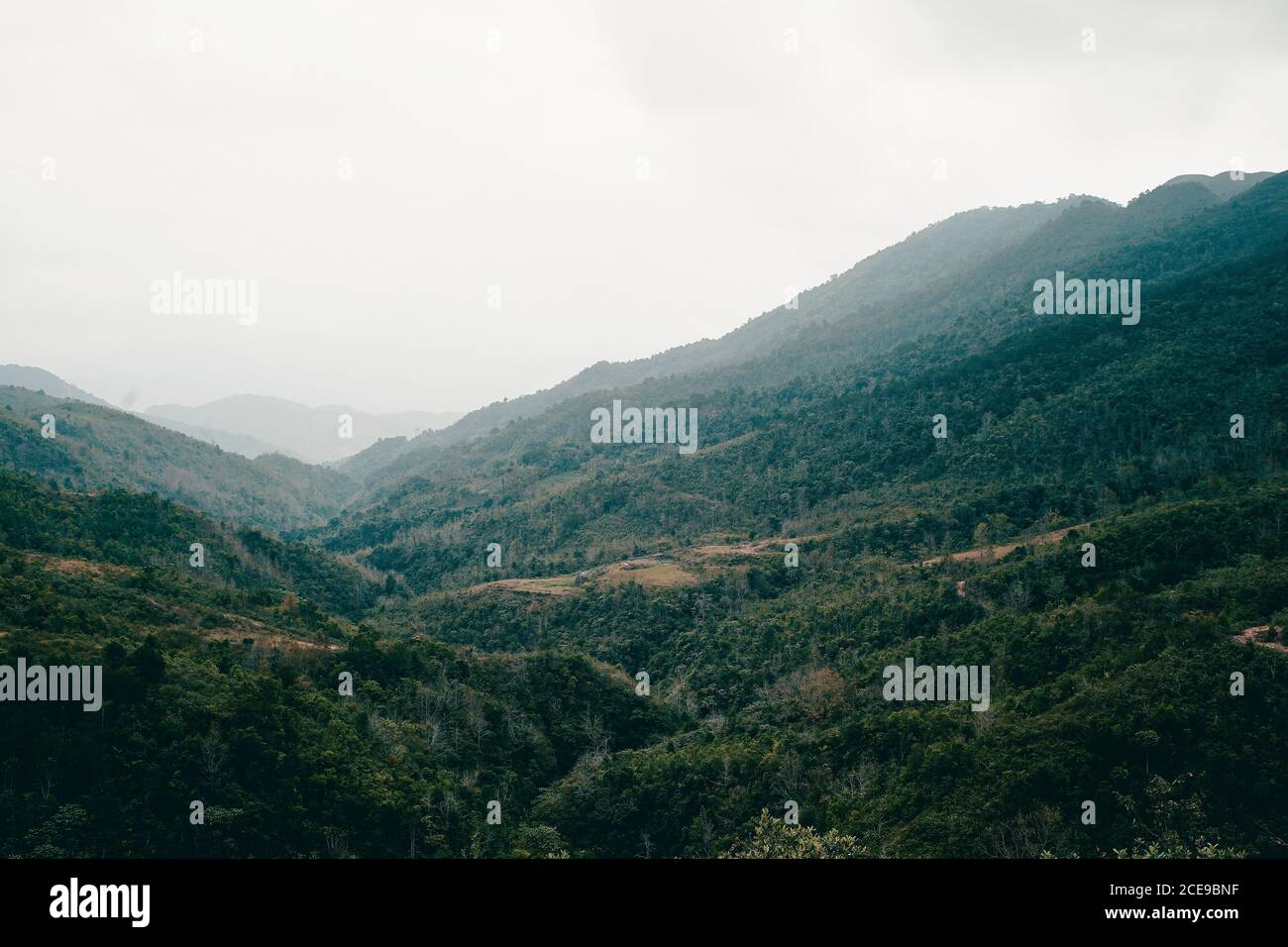 Panoramic image of Binh Lieu mountains area in Quang Ninh province in northeastern Vietnam. This is the border region of Vietnam - China. Stock Photo