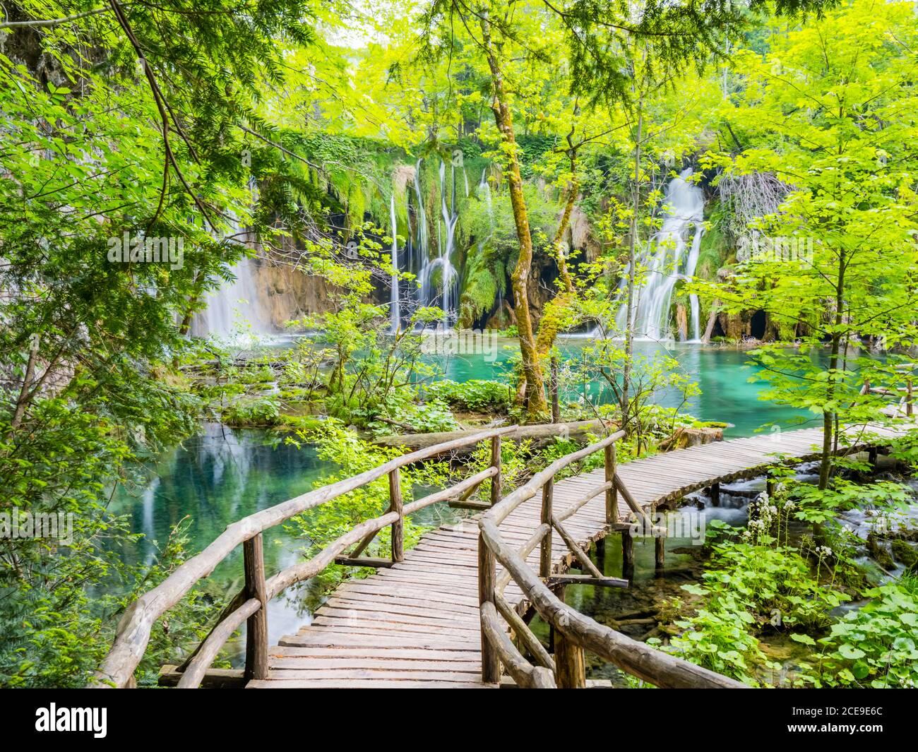 Fantastic views view amazing like dreamland fairytale land National park Plitvice lakes in Croatia Europe water flowing waterflow waterfall Stock Photo
