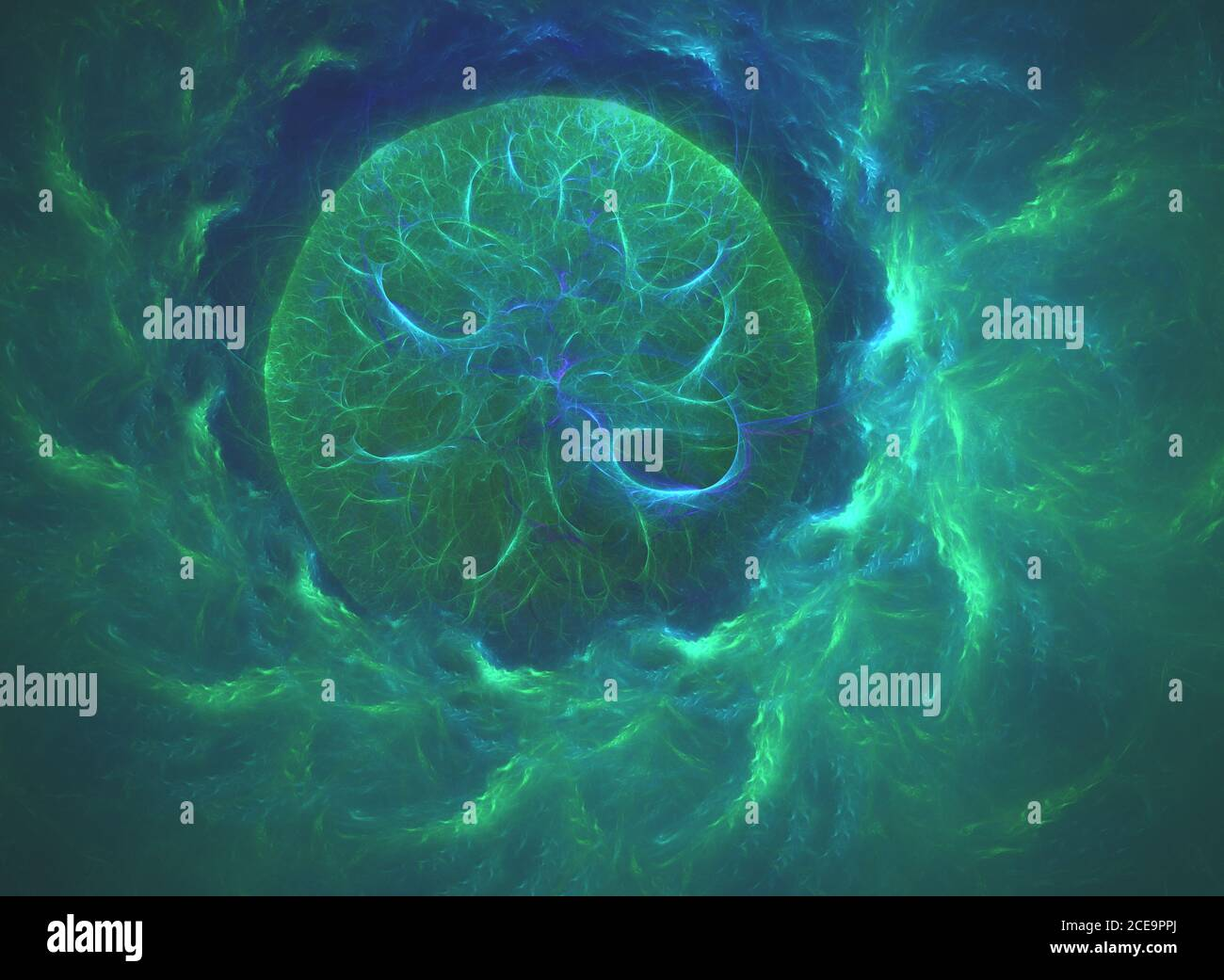 glowing green curved lines in shape of black hole over dark Abstract Background space universe. Illustration Stock Photo