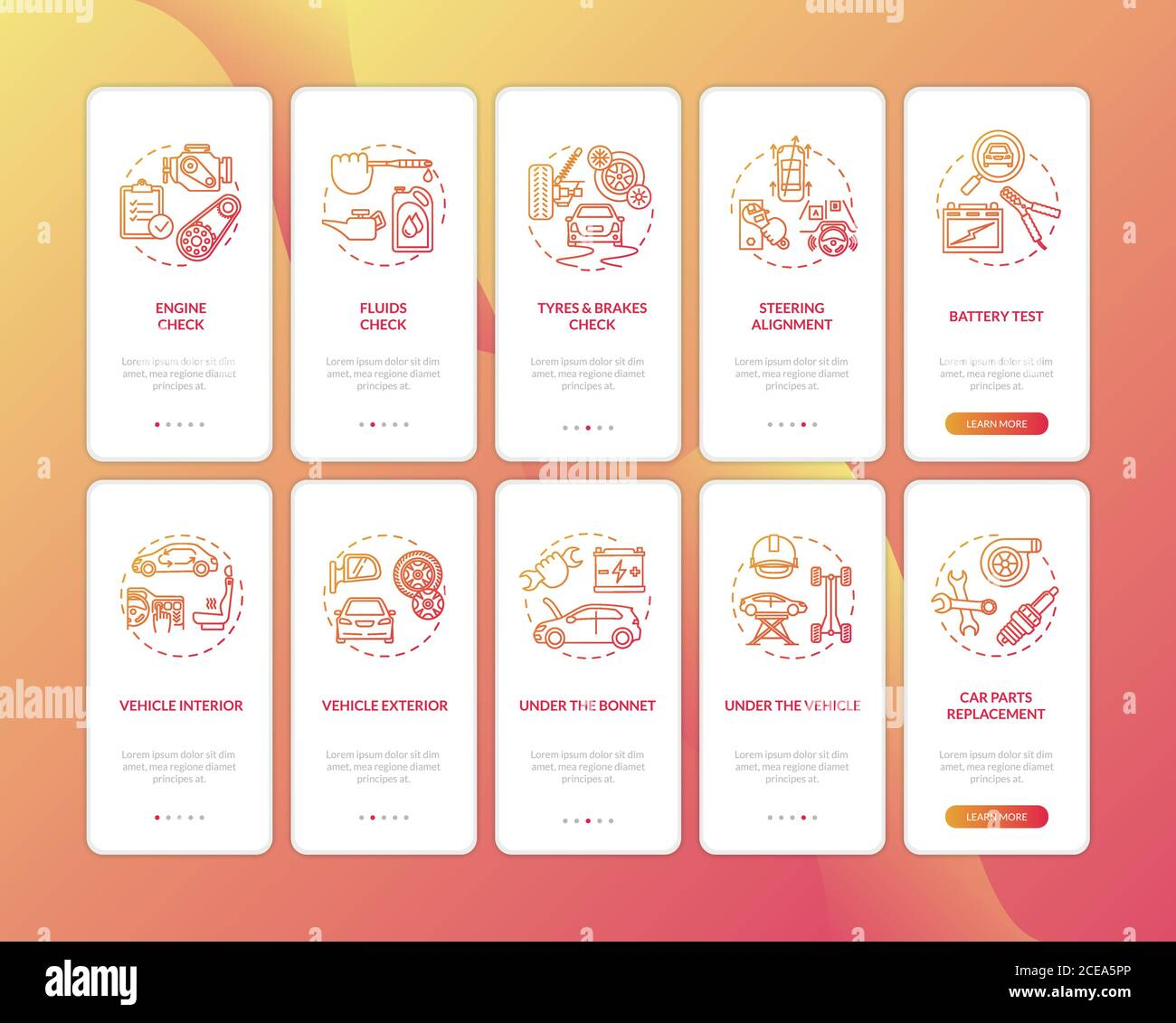 Auto Repair Onboarding Mobile App Page Screen With Concepts Set Car Technician Service Automotive Exam Walkthrough 5 Steps Graphic Instructions Ui Stock Vector Image Art Alamy