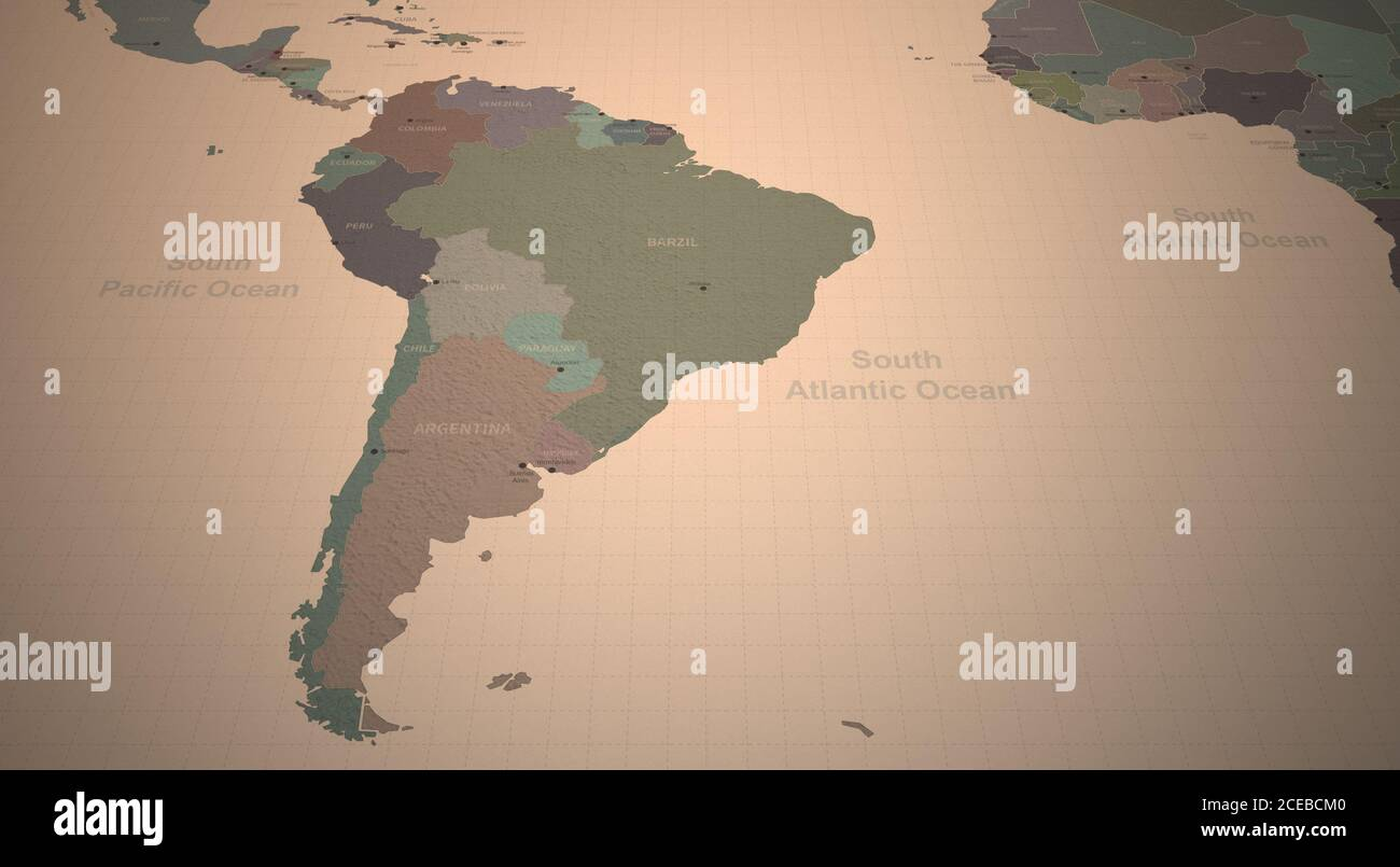 South American Map. Detailed Continental Map of the World on Vintage Paper. Stock Photo