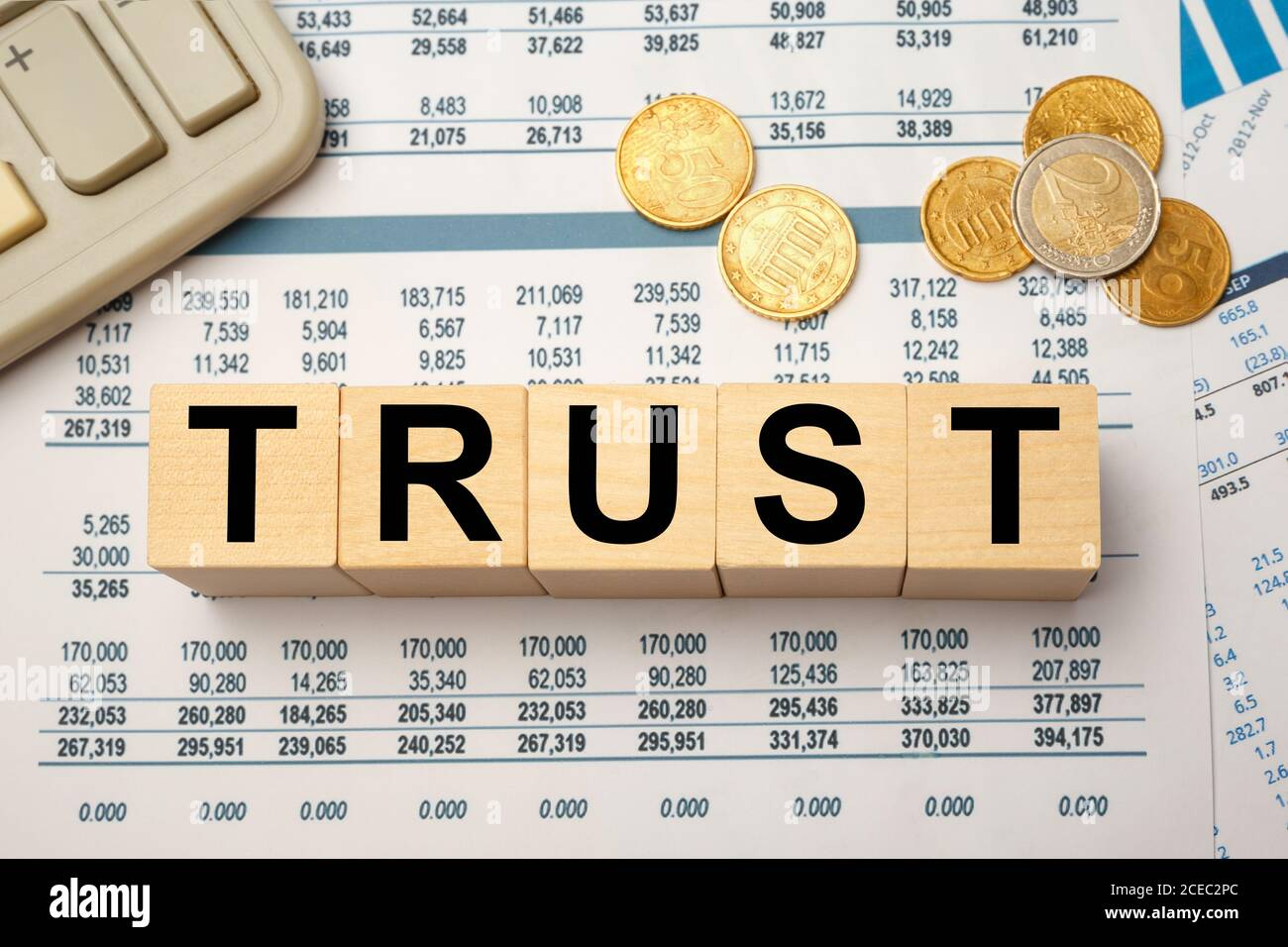 Wooden blocks with the word TRUST. Business concept Stock Photo
