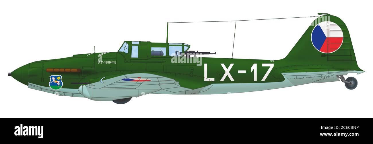 Ilyushin Il-2 Shturmovik (LX-17) of the 1st Flight of the 30th Air Regiment of the Czechoslovak Air Force piloted by Mikuláš Šinglovič, late 1940s Stock Photo