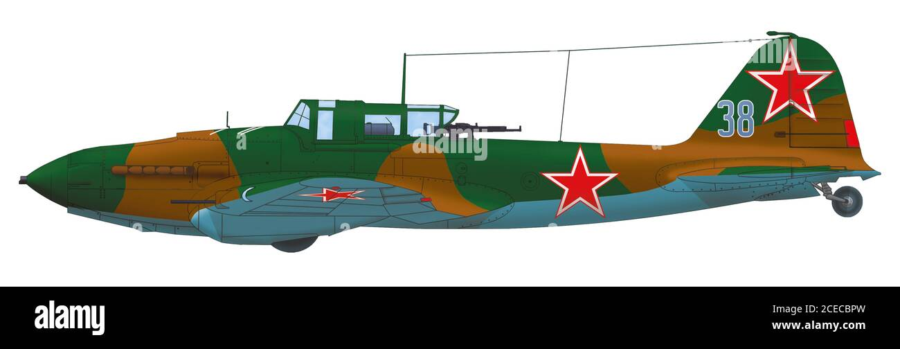 Ilyushin Il-2 Shturmovik (blue 38) of the of the 3rd Czechoslovak Attack Air Regiment of the 1st Czechoslovak Mixed Air Division, 1945 Stock Photo