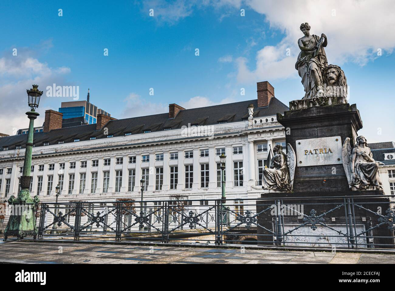 Historical Pro Patria memorial in the neoclassical Place des Martyrs or Martelaarsplein in Bruxelles bears freedom and revolutionary concept. Belgian Stock Photo