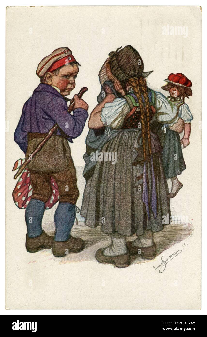 German historical postcard: Children as adults: an young peasant man farewell his beloved crying woman, world war one 1915, by artist Beithan Emil Stock Photo