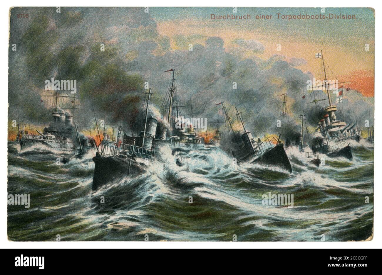 German historical postcard: Breakthrough of a torpedo boat division. A flotilla in a rough sea. Imperial German Navy (kaisermarine), 1908 Stock Photo