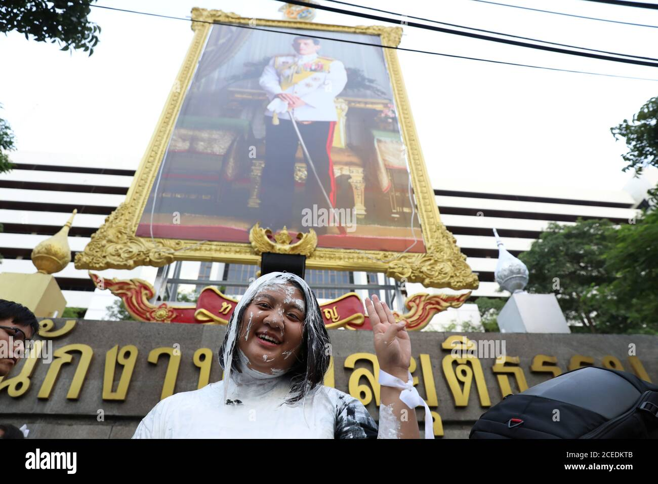 Jutatip Sirikhan 21 The President Of The Student Union Of Thailand Gestures After Throwing A Bucket
