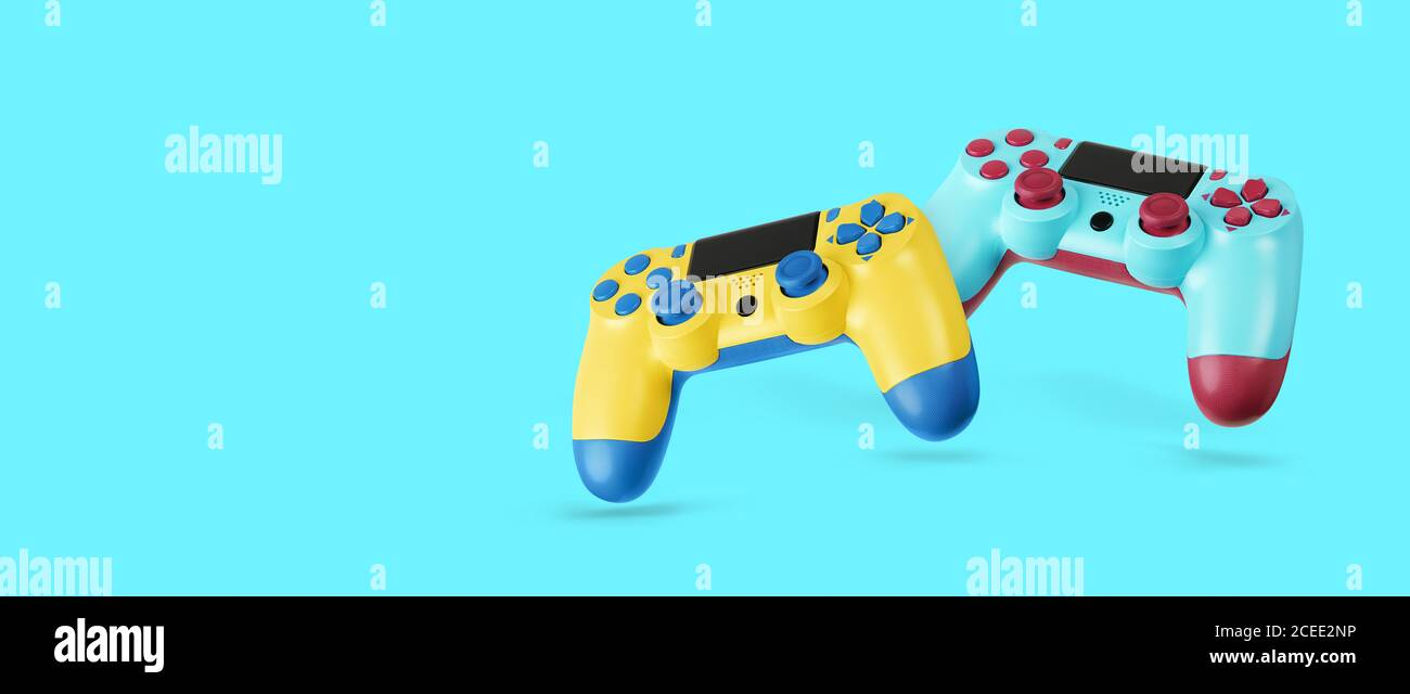 Fly Air Gamepads From A Game Console On A Blue Background Online Games Concept Banner Stock Photo Alamy