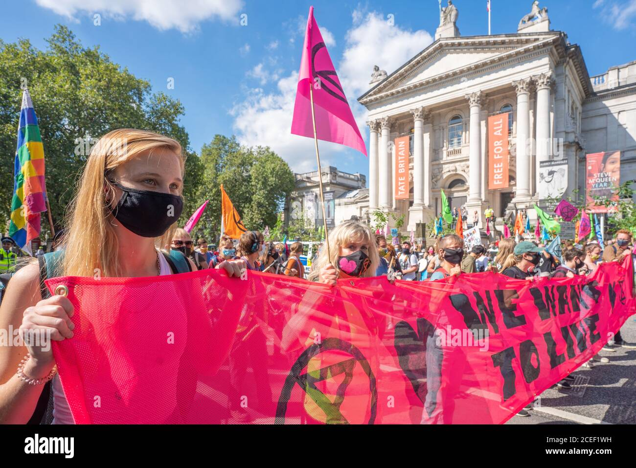 London, UK. Tuesday, September 1, 2020. A protest by Extinction Rebellion starting at Tate Britain in London in support of the Climate and Ecological Emergency (CEE) Bill. Photo: Roger Garfield/Alamy Live News Stock Photo