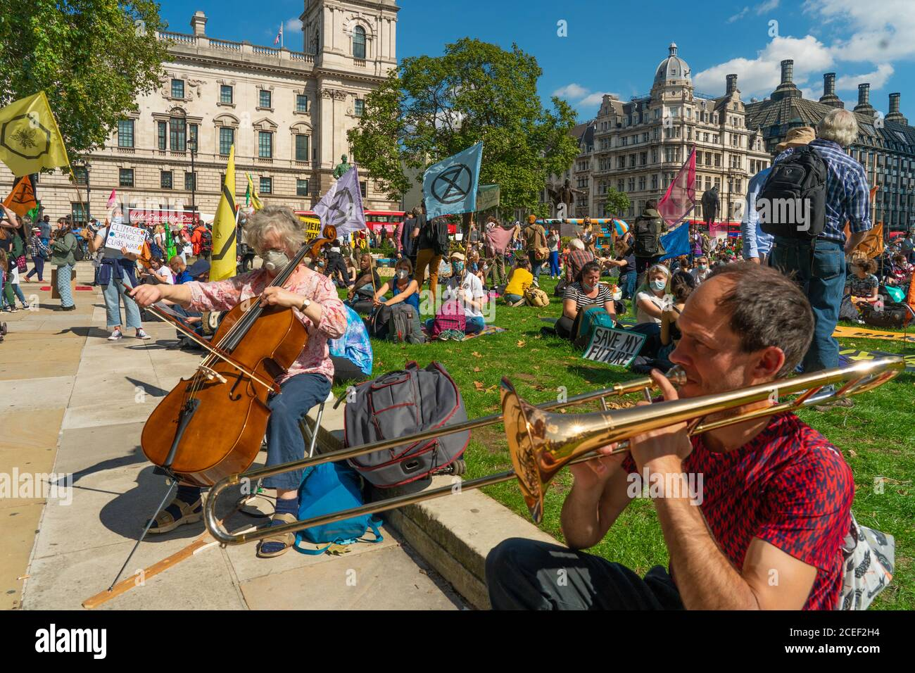 London, UK. Tuesday, September 1, 2020. A protest by Extinction Rebellion in Parliament Square in London in support of the Climate and Ecological Emergency (CEE) Bill. Photo: Roger Garfield/Alamy Live News Stock Photo