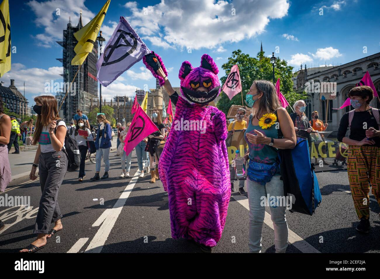 London, UK. Tuesday, September 1, 2020. London, UK. Tuesday, September 1, 2020. A protest by Extinction Rebellion in Parliament Square in London in support of the Climate and Ecological Emergency (CEE) Bill. Photo: Roger Garfield/Alamy Live News Stock Photo