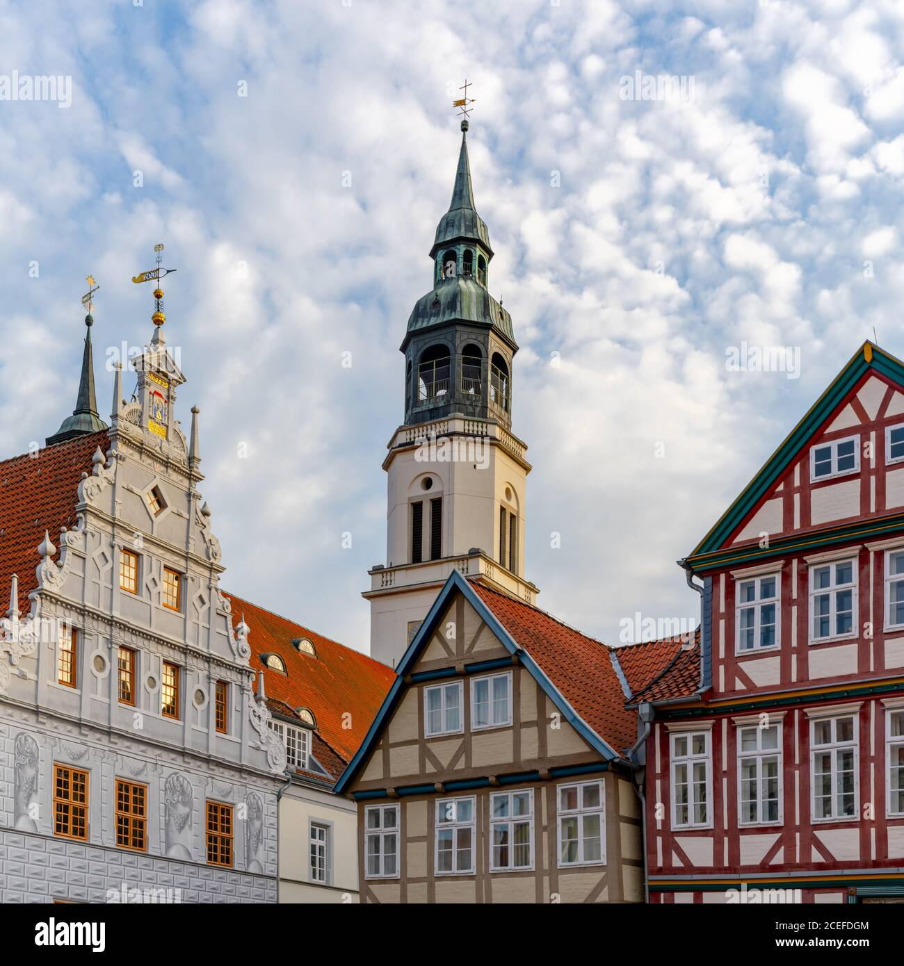 Celle, Niedersachsen / Germany - 3 August 2020: view of the old city hall and St. Marien Church building in Celle in Lower Saxony Stock Photo