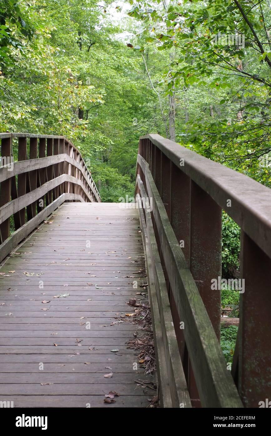 The footbridge has a very steep angle. Stock Photo