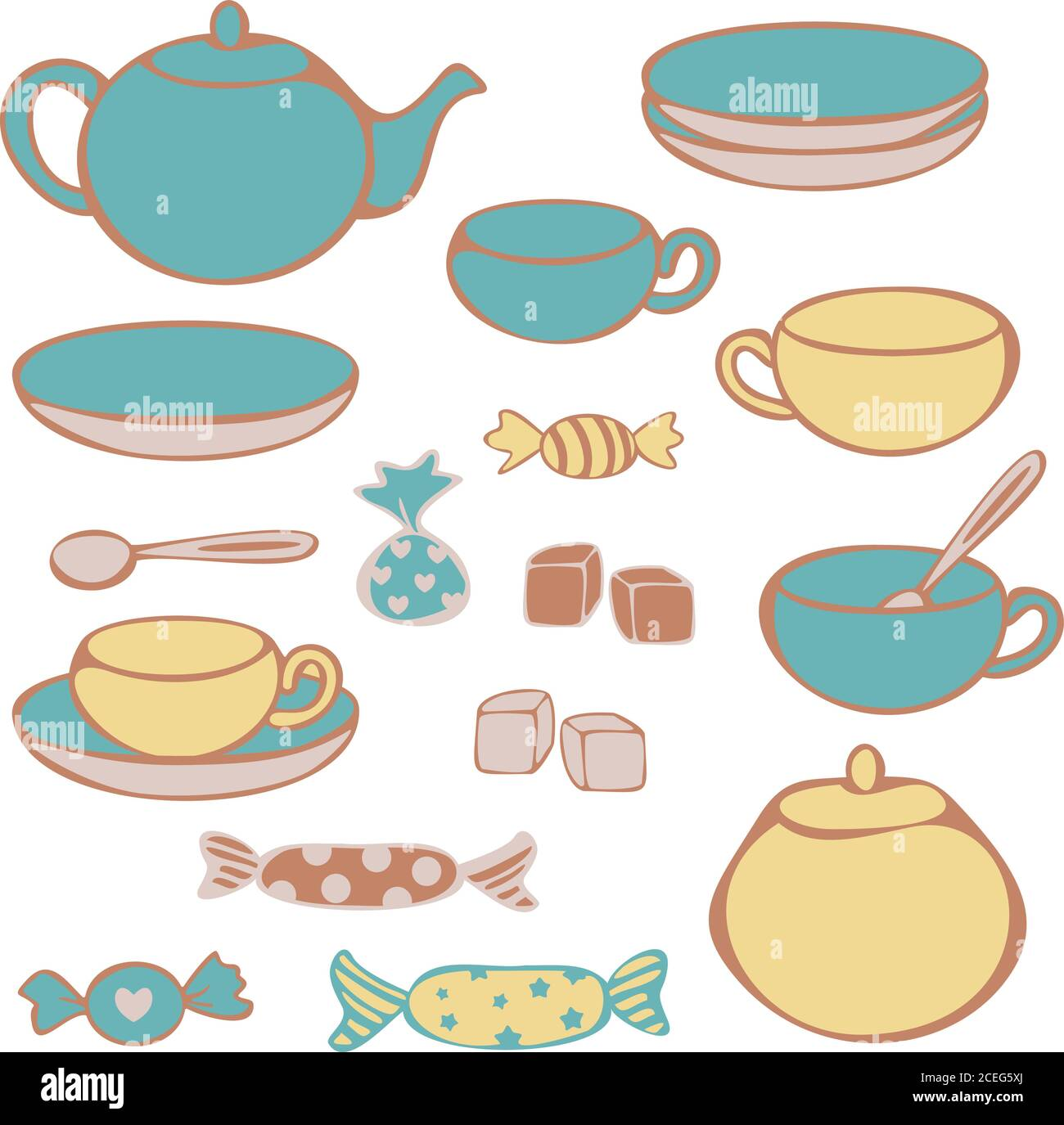 Vector Set Of Crockery For Tea Drinking Cups Mugs Teapot Sugar Bowl Lump Sugar And Candies Concept For Tea Store Stock Vector Image Art Alamy