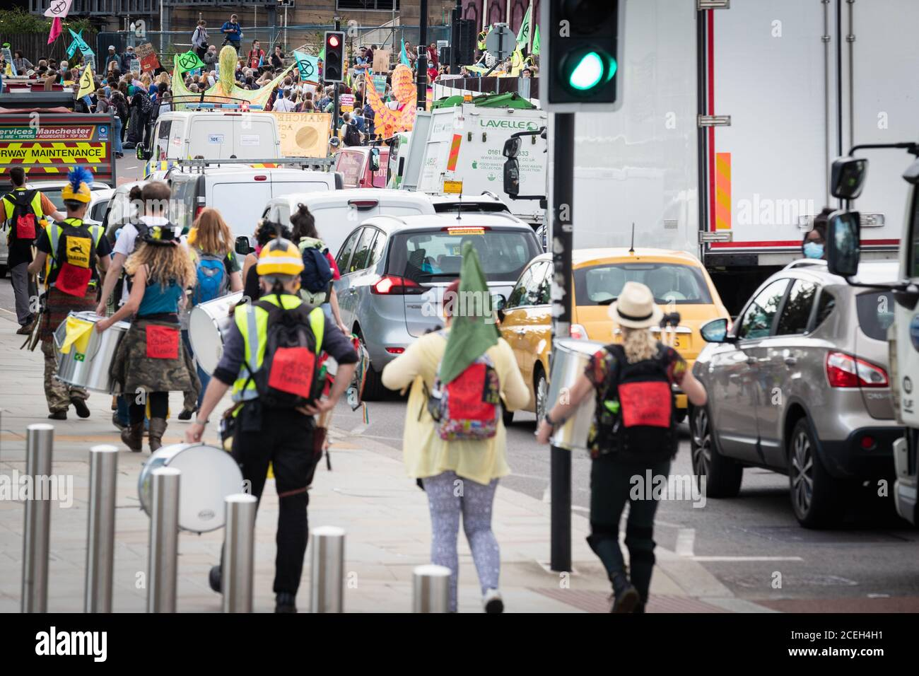 Manchester, UK. 01st Sep, 2020. Extinction Rebellion march through the city, causing traffic to stop during rush-hour. The Northern Rebellion, which is part of the Extinction Rebellion movement, take to the Streets for two weeks of action under the banner of ÔWe Want To LiveÕ. Credit: Andy Barton/Alamy Live News Stock Photo