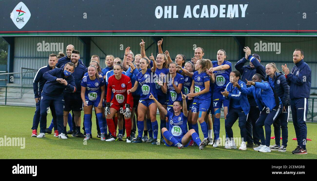 Heverlee, Belgium. 30th Aug, 2020. Gent players and staff celebrating their  win after a female soccer