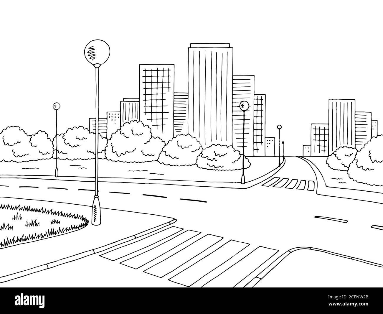 Street Road Graphic Black White City Landscape Sketch Illustration Vector Stock Vector Image Art Alamy