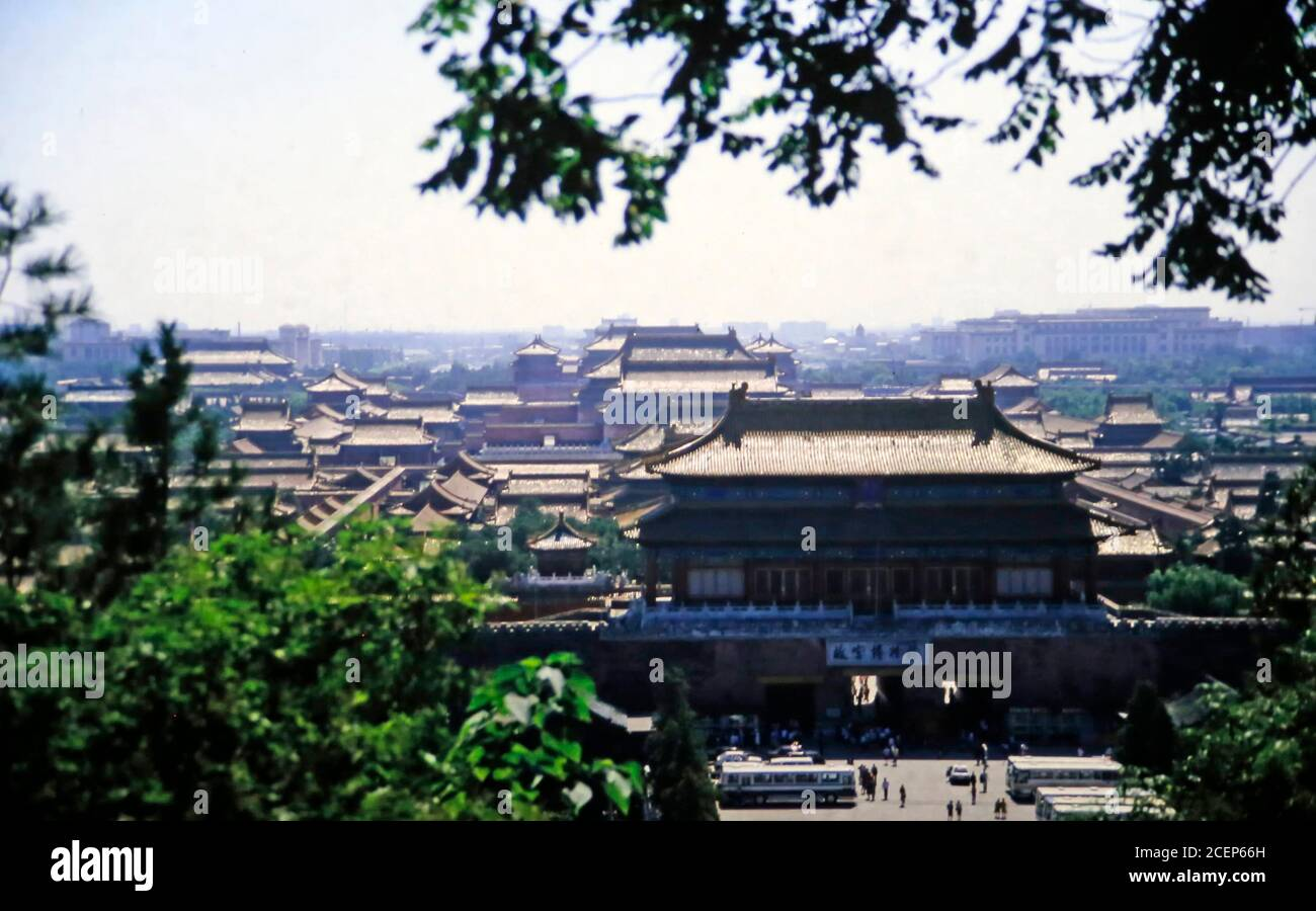 view down to the forbidden city in Beijing in 1986 Stock Photo