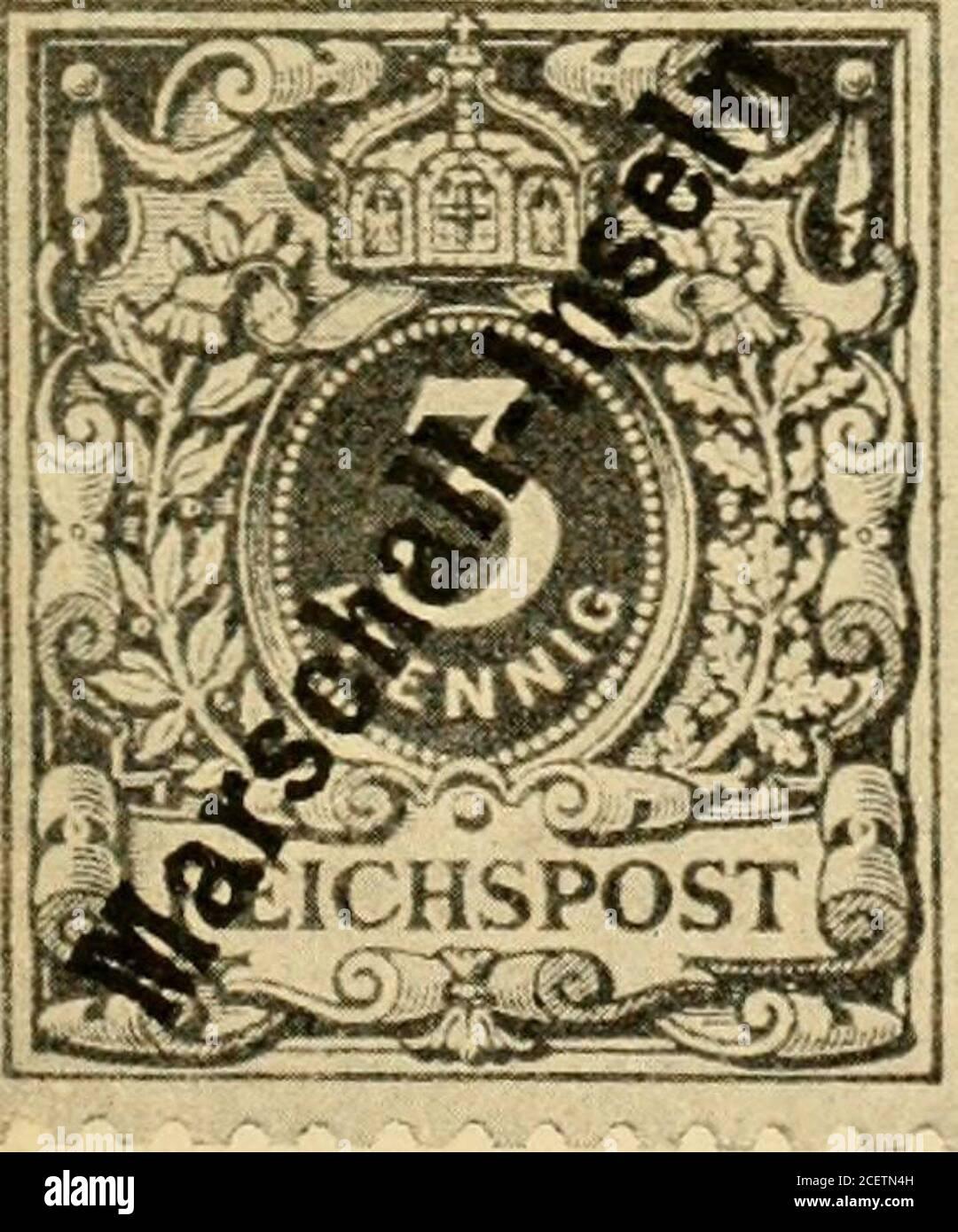 . Die postwertzeichen und entwertungen der deutschen postanstalten in den schutzgebieten und im auslande. Nr. 1 I. 3 Pfennig graubraun. Nr. 5 V. Feld 1 desBügens hat unbeschädigtes c. 25 Pfennig gelb. Kiältiger Aufdruck. Kräftiger Aufdruck. Die Auflagehöhe der Berner Ausgabe betrug 800 Sätze 3—50 Pfennig, von denen 760 Sätzezur Verteilung und zwar je 5 Sätze an jede am Weltpostverein beteiligte Verwaltung gelangte,während 40 Sätze vom Keichs-Postamt im Tauschweg an Herrn A. in Berlin grgeben wurden. Echt gebraucht sind die Marschall-Marken der Bern er Ausgabe nicht beobachtet worden. Die gleic Stock Photo