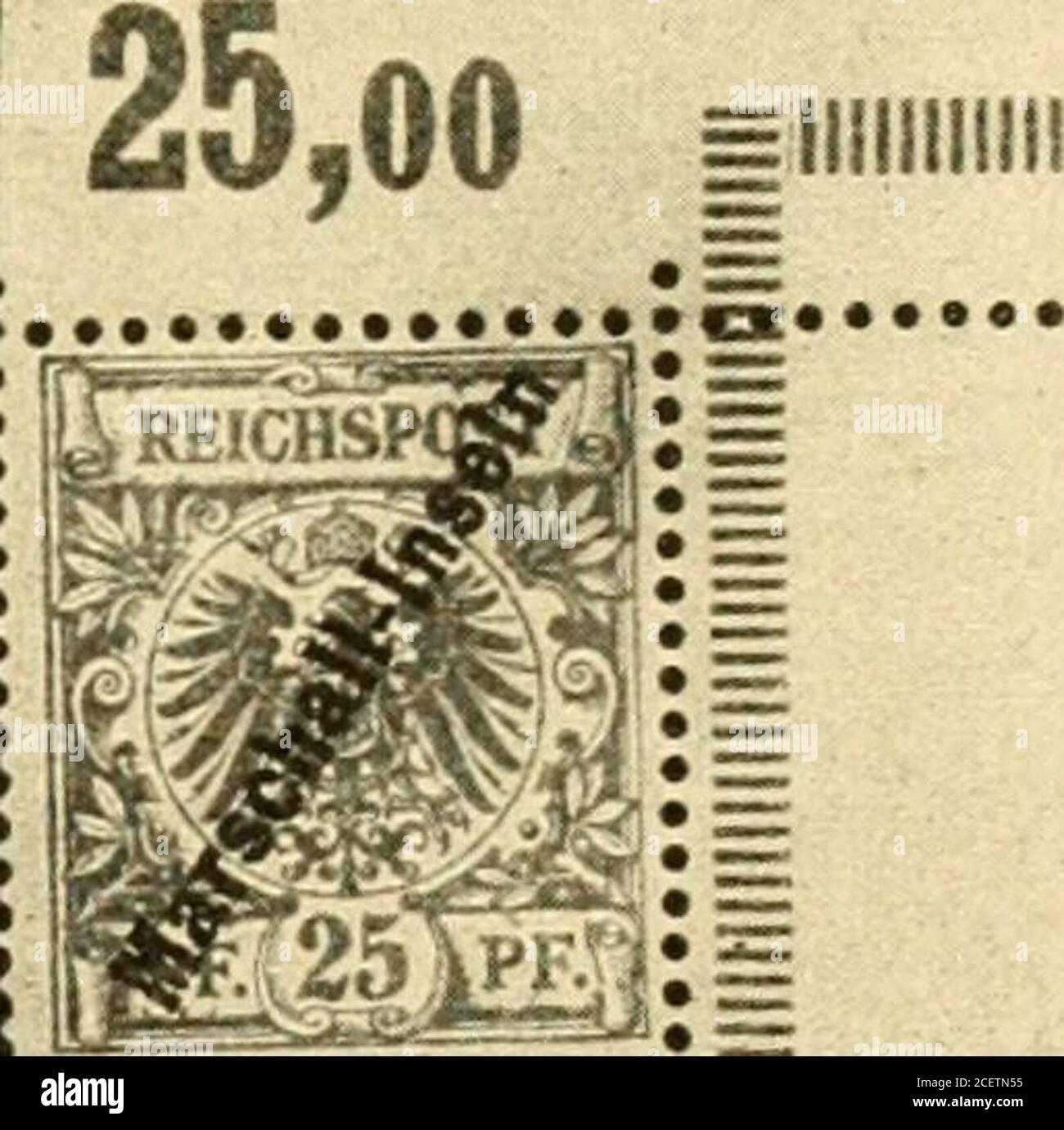 . Die postwertzeichen und entwertungen der deutschen postanstalten in den schutzgebieten und im auslande. = 111111111111. Nr. 1 I. 3 Pfennig graubraun. Nr. 5 V. Feld 1 desBügens hat unbeschädigtes c. 25 Pfennig gelb. Kiältiger Aufdruck. Kräftiger Aufdruck. Die Auflagehöhe der Berner Ausgabe betrug 800 Sätze 3—50 Pfennig, von denen 760 Sätzezur Verteilung und zwar je 5 Sätze an jede am Weltpostverein beteiligte Verwaltung gelangte,während 40 Sätze vom Keichs-Postamt im Tauschweg an Herrn A. in Berlin grgeben wurden. Echt gebraucht sind die Marschall-Marken der Bern er Ausgabe nicht beobachtet w Stock Photo