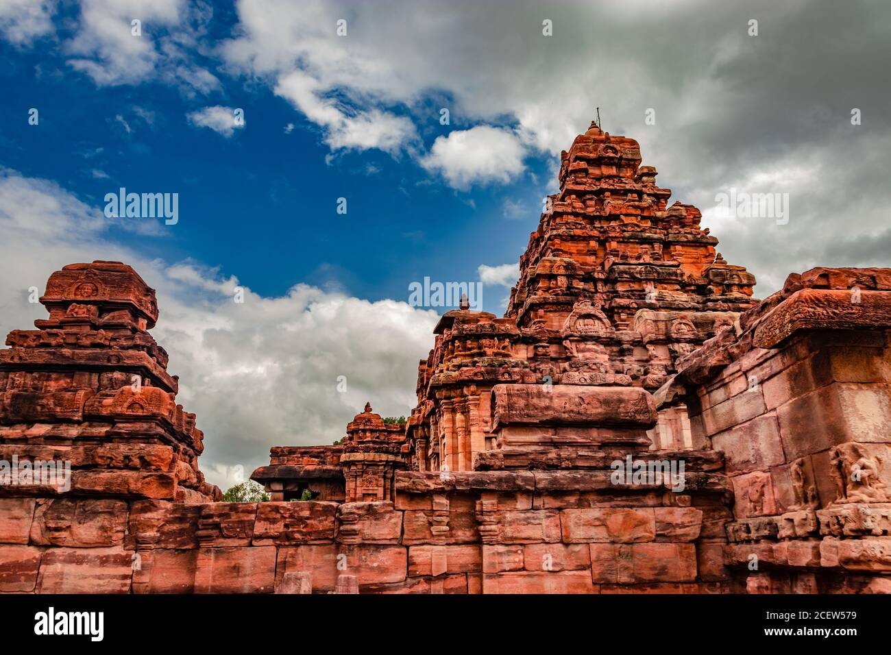 sangameshwara temple pattadakal breathtaking stone art from different angle with amazing sky. It's one of the UNESCO World Heritage Sites and complex Stock Photo